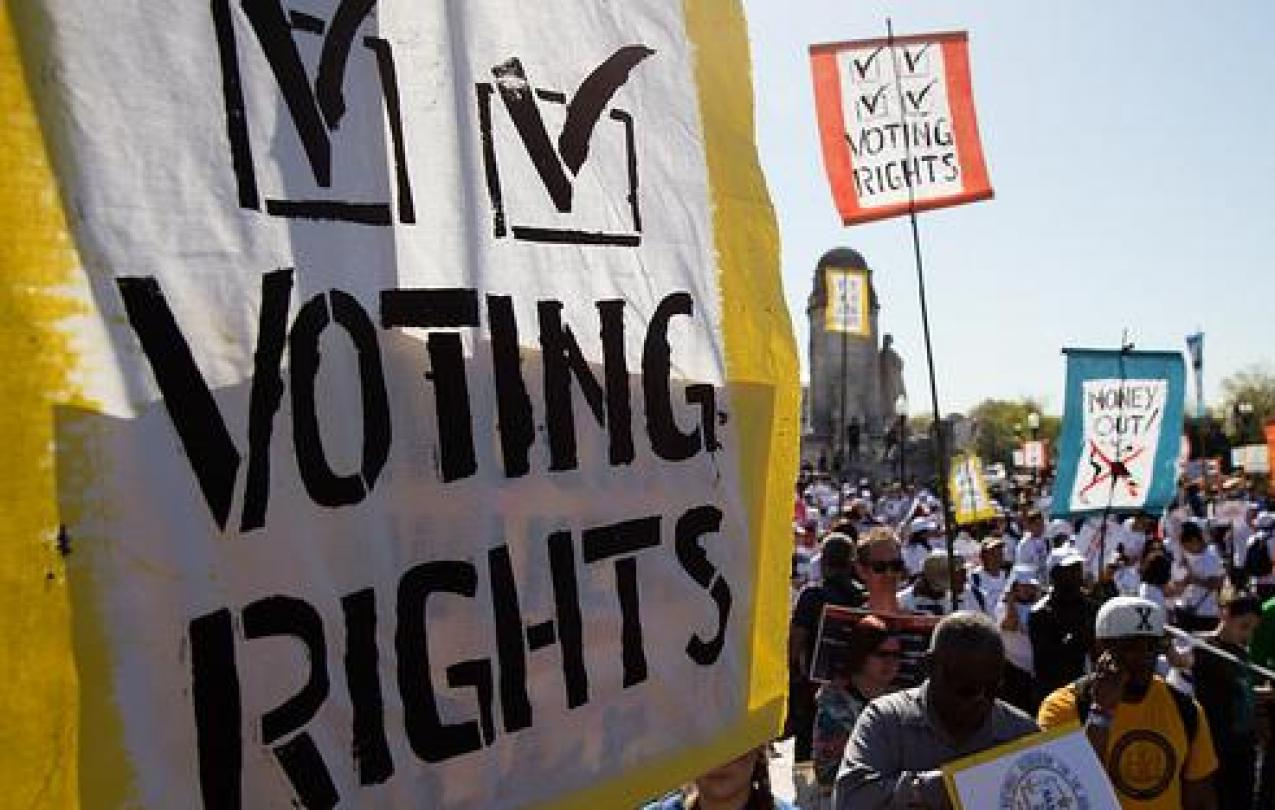 Voting Rights Sign at Democracy Awakening